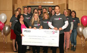 Oticon donation, hear in pink