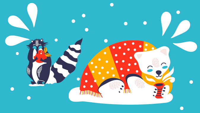 Illustrated raccoon eating an apple next to a sweater-wearing polar bear drinking coffee
