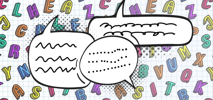 Illustration of four speech bubbles with a colorful collection of letters in the background