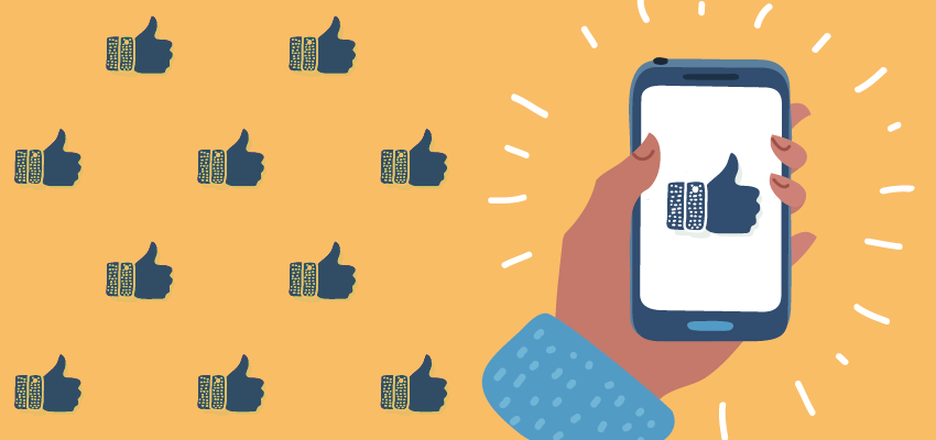 "Illustration of a hand holding a smartphone with a large ""like"" thumbs-up on the screen"