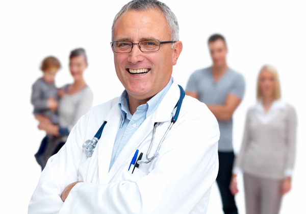 a doctor with patients in the background