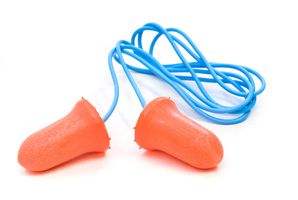 a pair of foam ear plugs