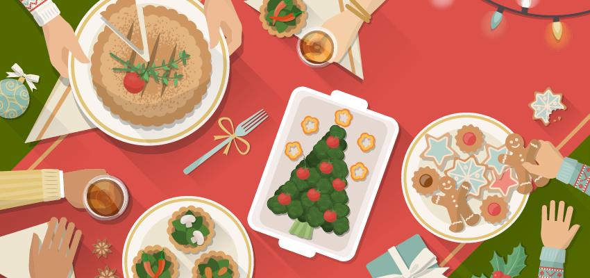 Illustration of holiday table full of treats