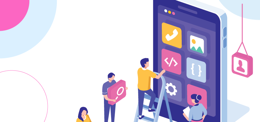Illustration of people adding app blocks to a larger than life smartphone