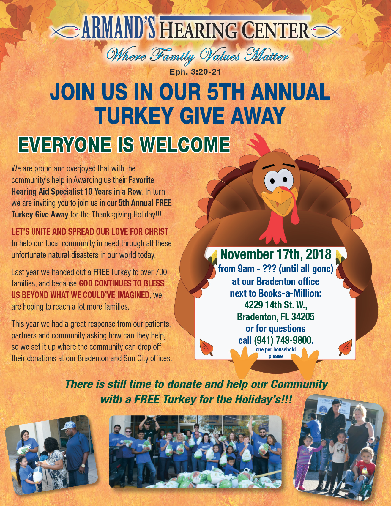5th ANNUAL TURKEY GIVE AWAY - ARMAND'S HEARING CENTER.png