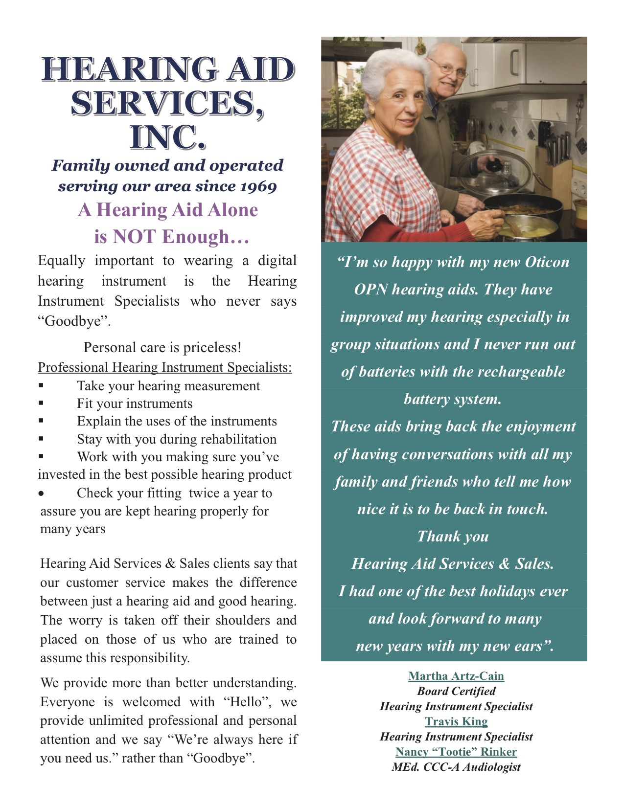 Hearing Aid Services Inc Promotion